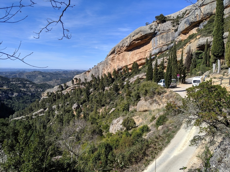 Looking at the parking for L'Ermita and the El Cami de L'Ermita sector behind.