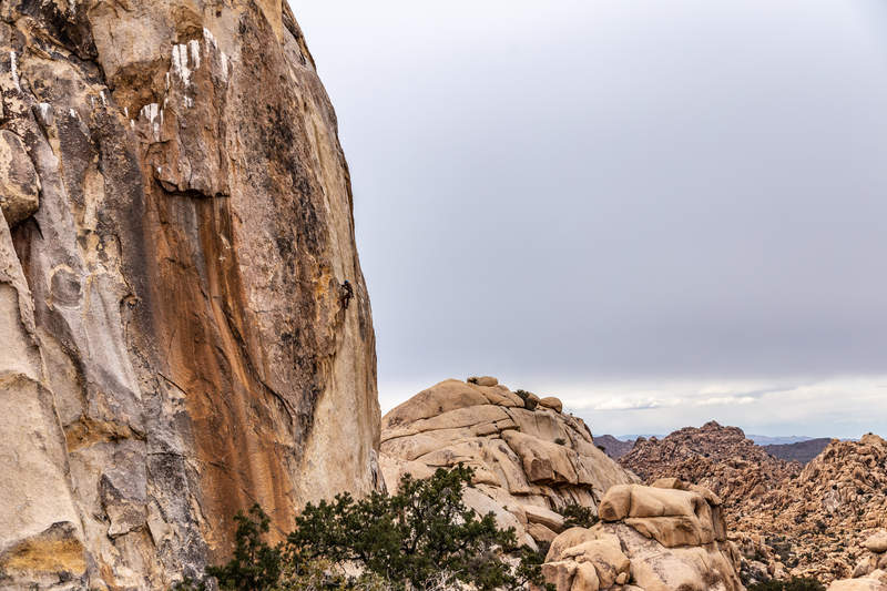 Climber finishing traverse on Figures on a Landscape