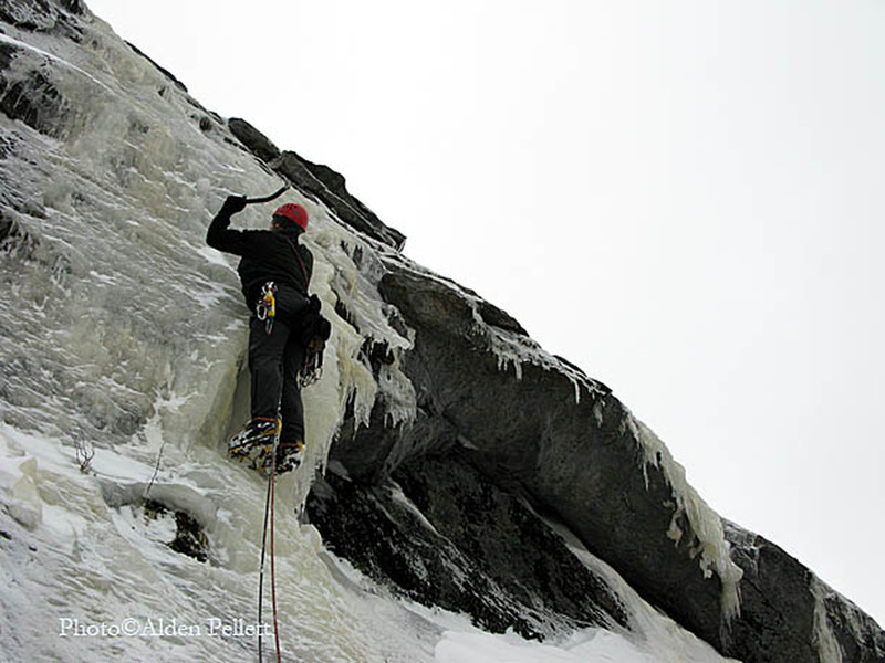 """P2 of """"The Golden Rule"""" WI2+ 800' at North Bald Cap"""