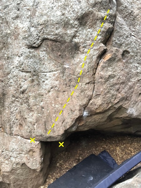 """Start holds. Right hand is right above the right """"x"""" in the roof on an undercling."""