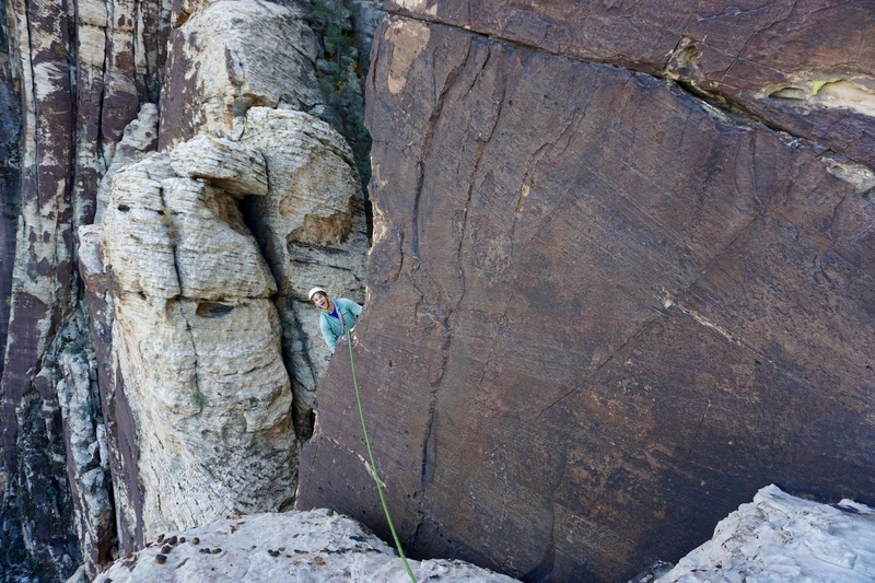 Big exposure on the last pitch! Step down and left around the arete to a hidden crack. This part is pretty dicey for the follower. (Photo: Giselle Field)