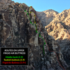 Routes on the upper part of Frigid Air Buttress. Belays marked for Middle Earth (green) and Tookish Instincts (yellow). The line of the original route (red) is for reference only and may not be 100% accurate (been several years since I've climbed it)