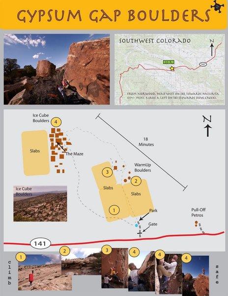 An overview provided by Damon Johnston - http://adventureswithnomad.blogspot.com/2006/11/gypsum-gap-boulders.html.