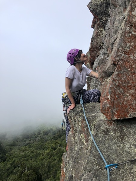 Climbing near the optional, scenic belay ledge.