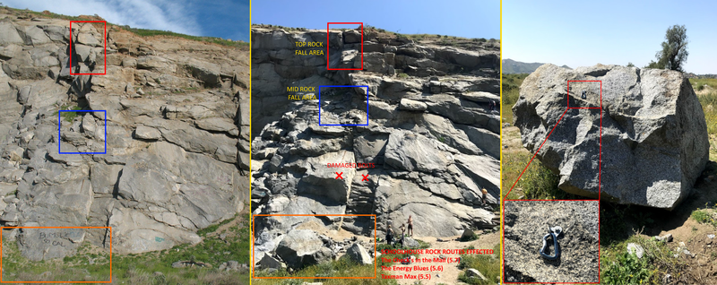 Rock fall sometime between my climbing trip on 10-12-18 & recent trip 3-23-19 on Schoolhouse Rock area, bolts effected on 3 routes, 1 bolt on a boulder 100 ft. away from routes. Loose gravel & rocks covering a lot of holds on the routes. Be Safe.
