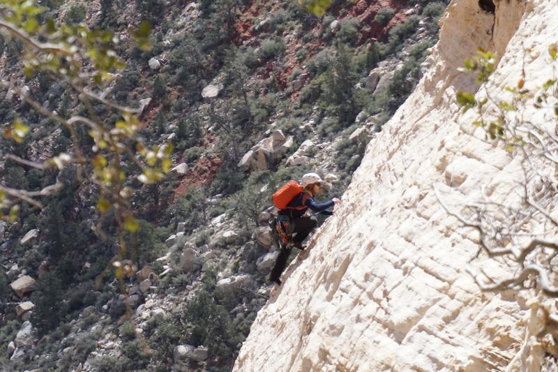 Fellow climber going up Johnny Vegas