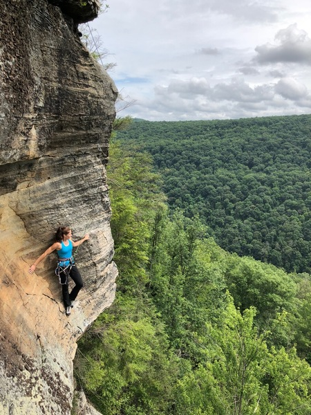 Alex Johnson on the second pitch (5.10+) of Obedience 5.12a