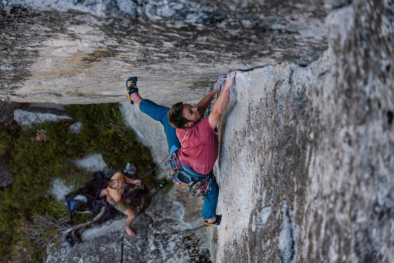 Drew Wiginton just below the crux