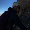 Pic of my buddy reaching the P6 anchor which shares a nice belay ledge (and awesome view) with Ginger Cracks.