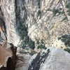 View of the Notch which you'll rappel into from the rap sling right behind me in this pic.