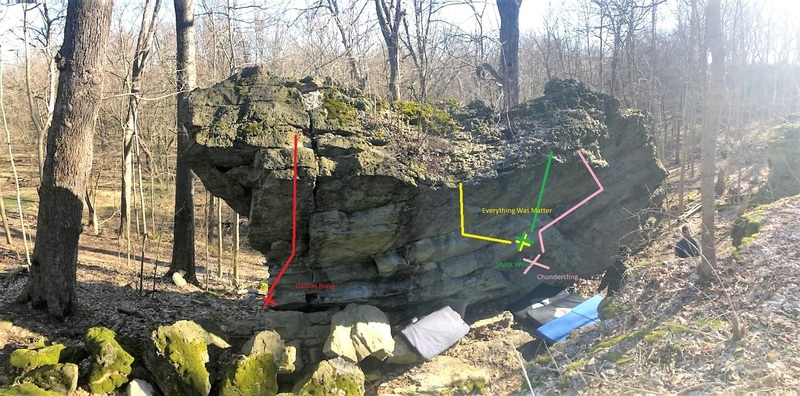 A couple of routes on this boulder