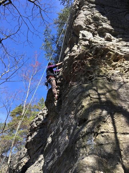 enjoying spring climbing at pilot mtn