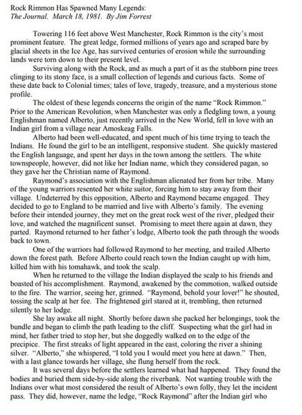 The legend of Rock Rimmon (part 1) from https://www.manchesternh.gov/Portals/2/Departments/parks_and_rec/12_0213%20Rock%20Rimmon.pdf