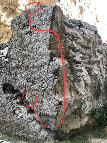 reaching around the Arete to finish is the crux! <br> Trust your right hand and lean out as much as possible.