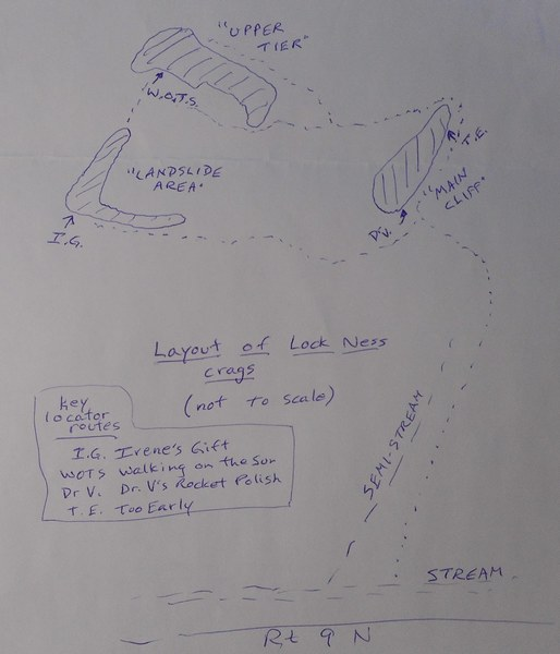 These routes are described in Blue Lines 2, but this sketch may help some folks locate them.