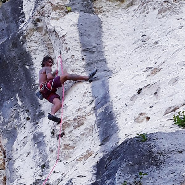Jean getting into the crux
