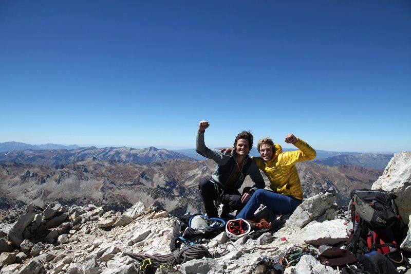 Chris Baldwin and I on Cap's summit. Success up the NW Butt!