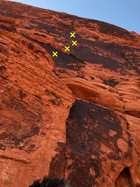 The start of the route, from directly below the first bolt. I marked the rough line of the first few bolts