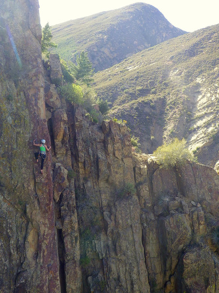 Climber at The Fortress, Sespe Gorge.