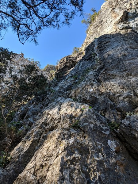Left trending line of bolts in this photo that lead up to the upper headwall