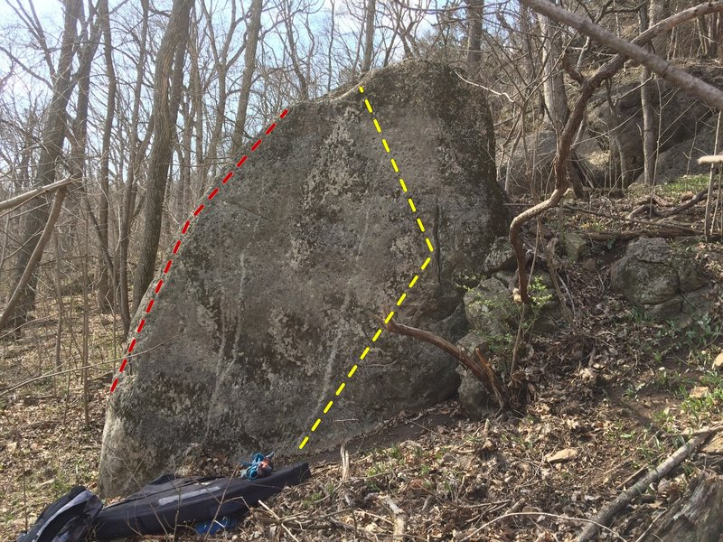 There might be enough featuring to go straight up without the crack. Red line is the V1-2 arete.