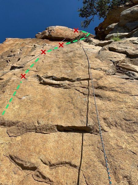 Staring up the quite smooth face of Standard Deviation. Starting with the first bolt to the left, the route heads straight up the left rope strand and takes a right near the shadow of the tree.