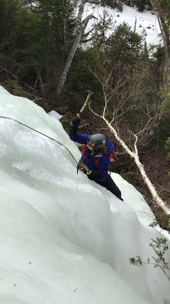 Hannah topping out pitch one (not pictured: she's wearing two left boots!)
