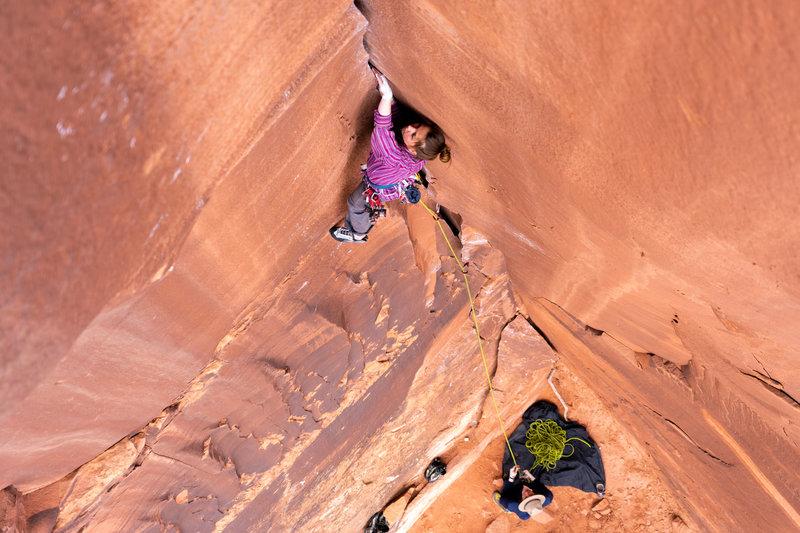 Natalie Garza making her way up. Photo by Will McKay