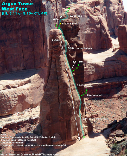 Argon Tower W Face Route seen from atop the 3 Gossips.