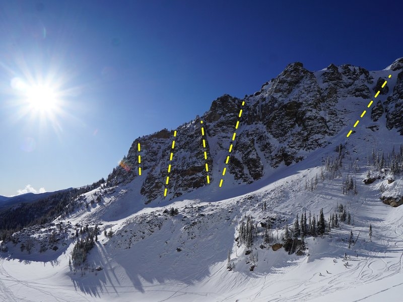 North side of East Buttress of Hallett, showing a selection of routes above Emerald Lake.<br> <br> From left to right: (1) Tastee Freeze, (2) No. 1 Gully, (3) Butterfingers, (4) Central Couloir, (5) East Couloir (a popular ski descent).<br> <br> Photo by Zach Eiten.
