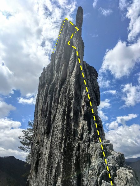 """""""Direct"""" route uses the east (climber's left) face underneath the Gryphon's Beak, before passing behind it to the west face and continuing up the summit arete until a good belay stance can be established at approx the end of yellow dotted line"""