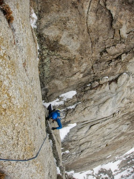 Topping out the last bit of P6 onto the summit plateau. Pic: JK