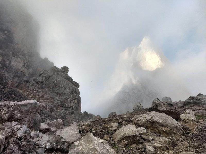 The Naranjo looming through the fog and rain. June 2018