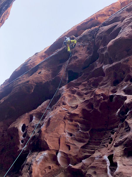 Just beyond the crux