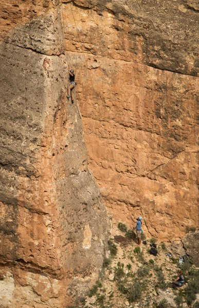 Jason Dello on Air Affair 5.7 belayed by Mike Speer