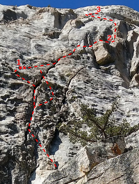 Photo topo of Left Ski Track at Tahquitz. Photo by Derek Shirk, topo by Ben Crowell.