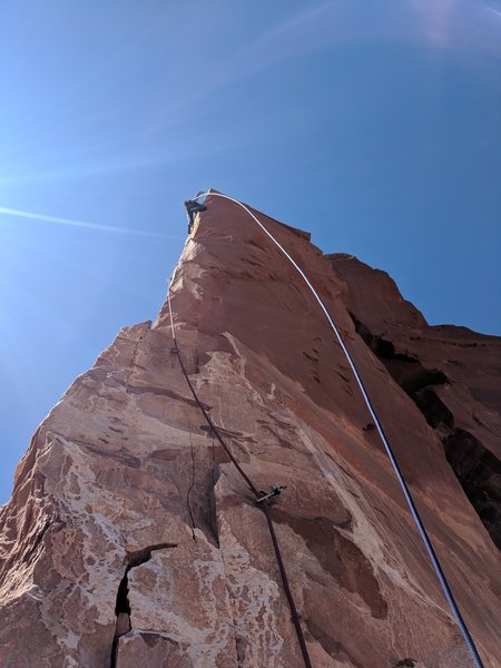 The crux pitch is this wild arete!