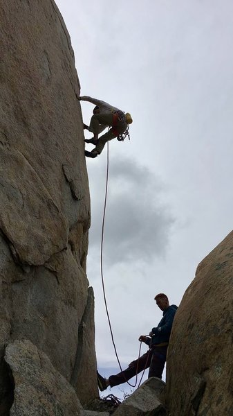 "Randy cruising the Lieback Crack to set up the anchor on Granite Geek. ""Belayed"" by Orion"