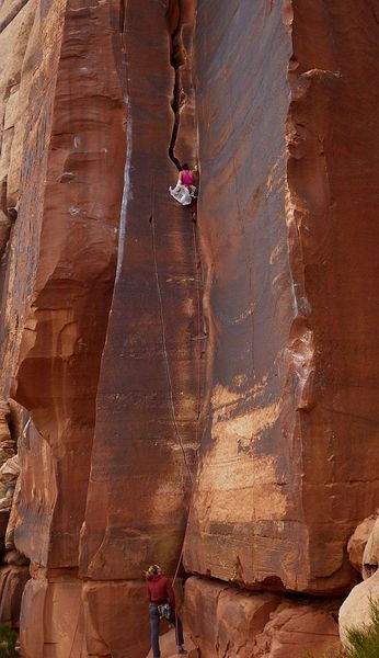 Hannah changing her climbing colors, while onsighting with Jenessa.  15 Apr 2019.