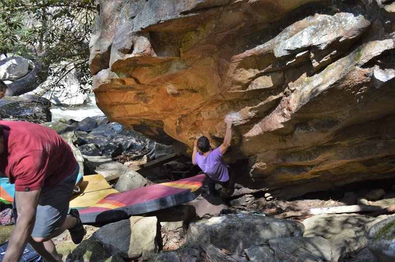 """The FA of """"Unspeakable"""" on the Silent Boulder"""