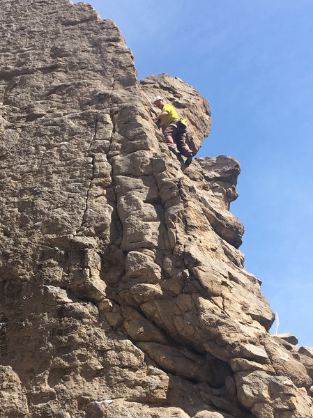 Free soloing pitch 29 of the 30-pitch day.