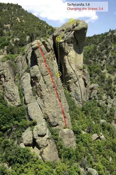 New Rappel/Descent Route shown in yellow, established 4/18/19..