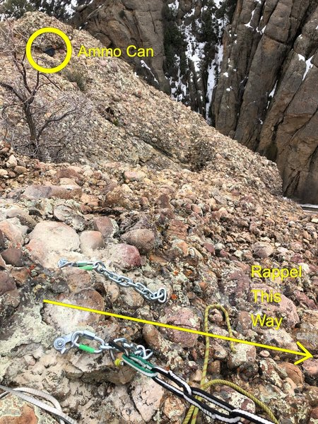 A view of the new rappel anchors as of 4/18/19. The Ammo can is visible in the upper left-hand corner of the photo.