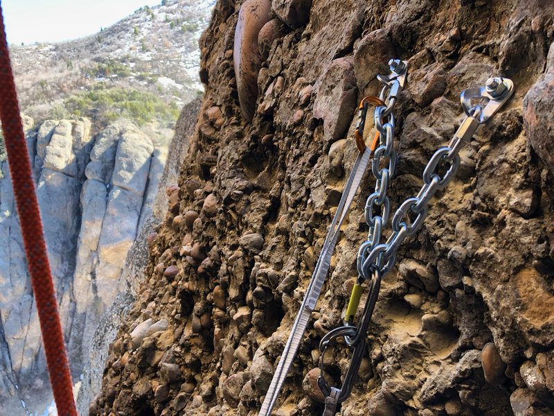 The third rappel anchor station, placed on 4/18/19. Photo looks south, the Maple Canyon road is below the lower left hand corner of the photo. Heart Rock is at photographers left. A third bolt is just out of view near the upper right-hand corner of photo.