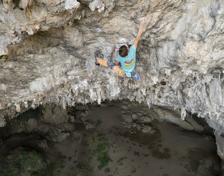 Daniel coming out toward the headwall (still in the cave)