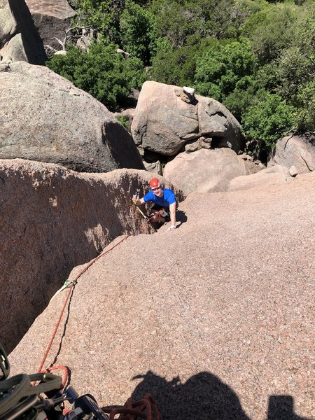 Miles following on Jack Knife before bagging it as his first trad lead.