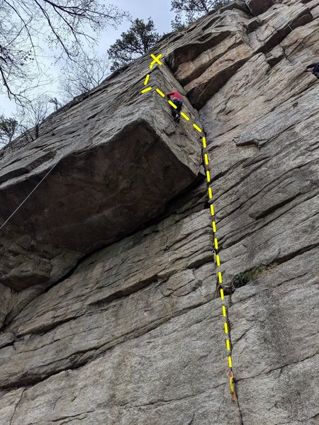 Bridal Path 5.7 variation on Horseman, cut left before you hit the roof in the corner, move around the arete, big reach to a horizontal and to the horseman pitch #1 optional belay.