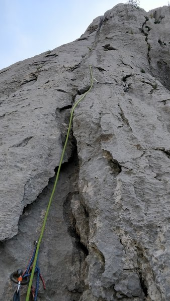 Pitch 3 as seen from the second belay