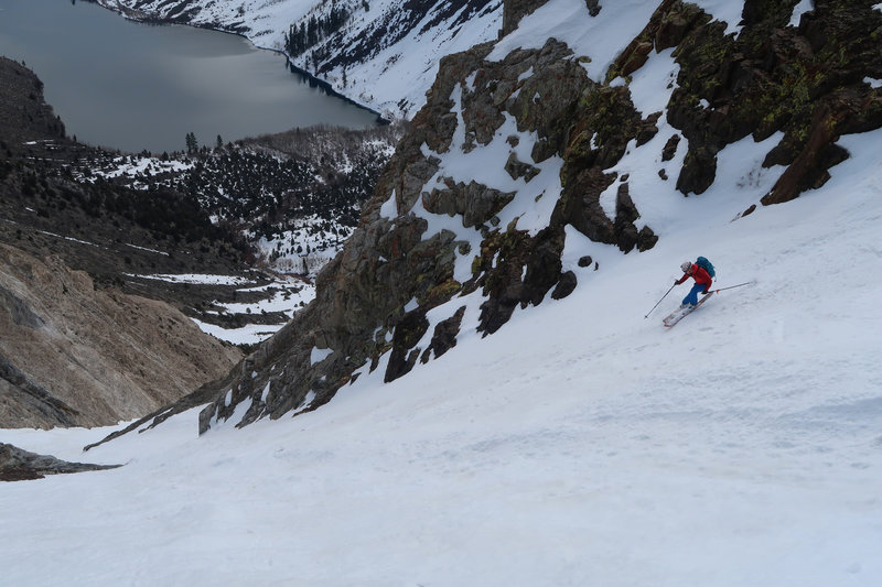 Skiing the Mendenhall Couloir above Convict Lake