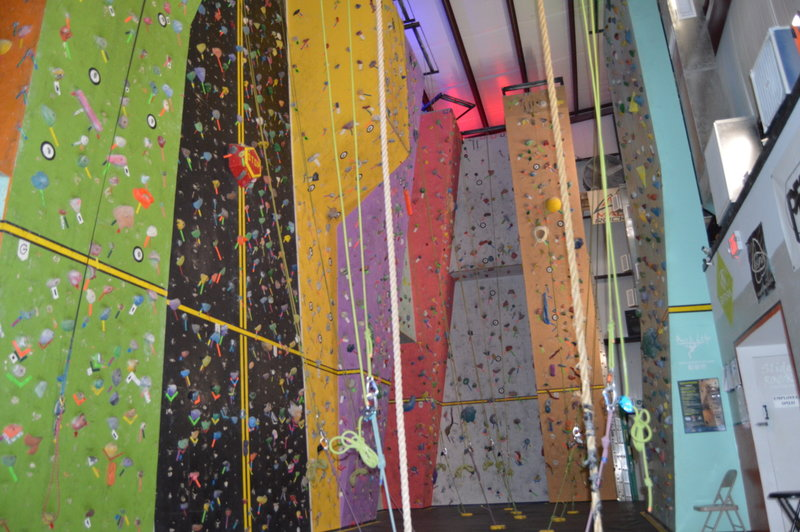 We have a race wall, 45 degree, Over hangs, Low and High Roofs, Aretes, and Slabs